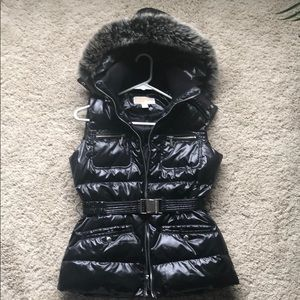 Michael Kors Puffer Vest with Real Fox Fur